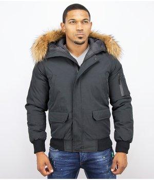 Enos Short Winter Jacket Real Fur Collar - Black