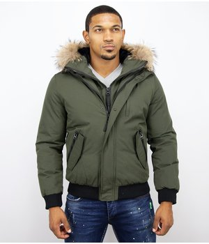 Enos Short Winter Jacket - Men  Jacket With Fur Collar Basic - Green