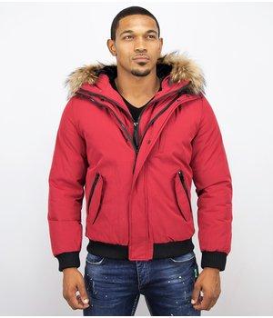 Enos Double Zip Short Jacket For Men - Red