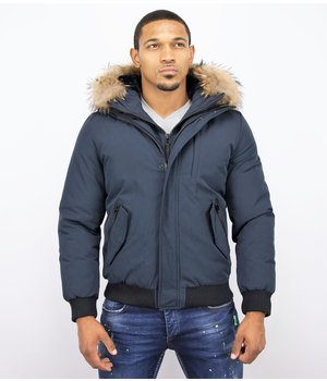 Enos Short Winter Jacket - Jacket With Fur Collar Basic - Blue