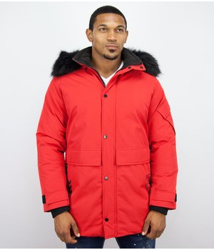Enos Winter JacketFur Collar Men  - Quilted Parka Long - Red