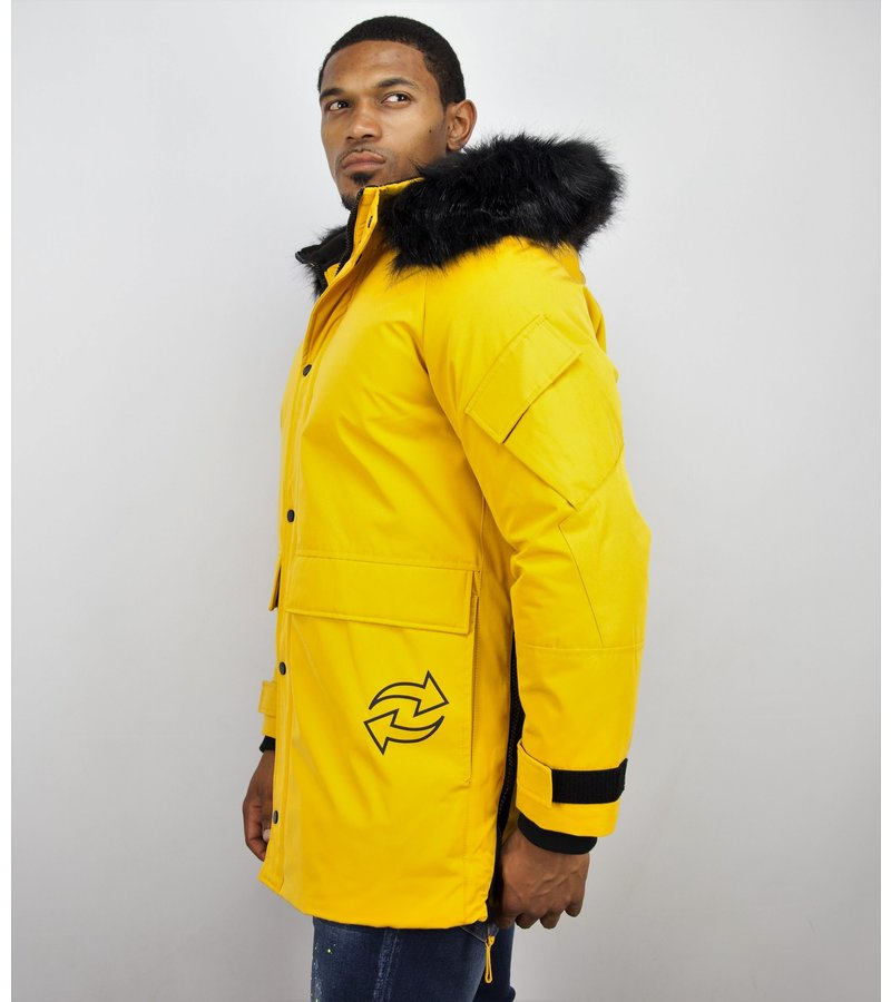 Enos Men Winter JacketFur Collar - Quilted Parka Long  - Yellow