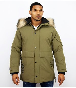 Enos Winter jacket Men Fur Collar - Quilted Parka Long - Green