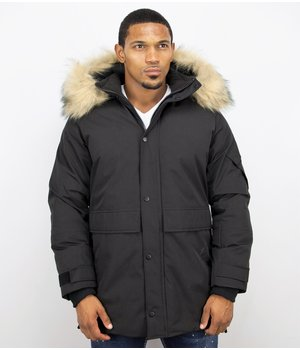 Enos Winter jacket Men Fur Collar- Parka Long  Quilted - Black