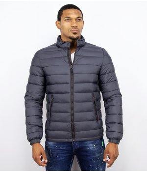 Enos Men's Winter Jacket Short - Down Jacket - Dark Grey