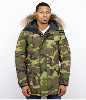 Y chromosome Fur Collar Coat - Men Winter Coat Long - Exclusive Camouflage Parka