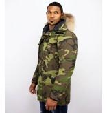 Y chromosome Fur Collar Coat - Men Winter Coat Long - Exclusive Camouflage Parka