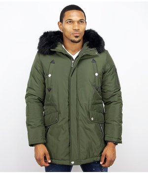 Enos Faux Fur Collar Coat - Men Winter Coat Long- Exclusive Button Parka - Green
