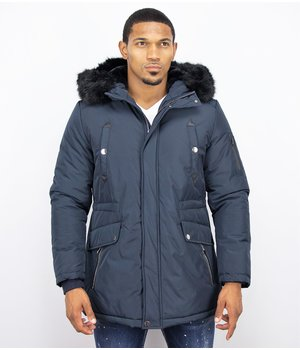 Enos Winter Coats - Men Winter Jacket Long - Faux Fur - Exclusive Button Parka - Blue