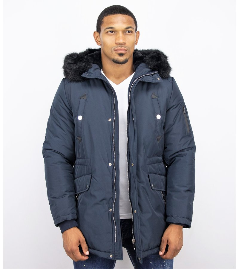 Enos Winter Coats - Men Winter Jacket Long - Faux Fur - Exclusive Button Parka - Blue