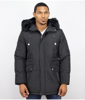 Enos Winter Coats - Men Winter Jacket Long - Faux Fur - Exclusive Button Parka - Black
