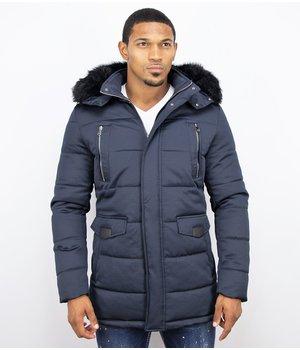 Enos Winter Coats - Men Winter Jacket Long - Faux Fur - Exclusive Zipper Parka - Blue