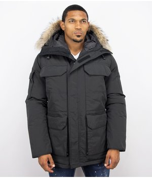 Beluomo Fur Collar Coat - Men Winter Coat Long - Expedition Parka - Black