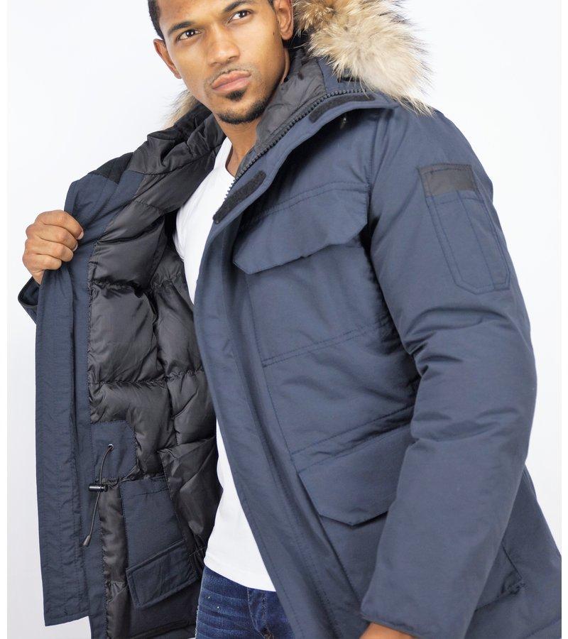 Beluomo Fur Collar Coat - Men Winter Coat Long - Expedition Parka - Blue