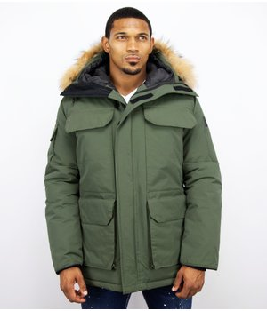 Beluomo Fur Collar Coat - Men Winter Coat Long - Expedition Parka - Green