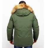 Beluomo Fur Collar Coat - Men Winter Coat Long - Expedition Parka - Green