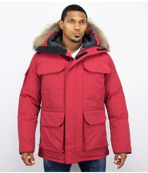 Beluomo Fur Collar Coat - Men Winter Coat Long - Expedition Parka - Red
