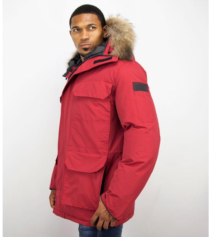 Beluomo Fur Collar Coat - Men Winter Coat Long - Expedition Parka - Red