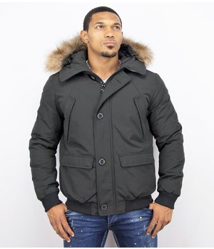 Warren Webber Fur Collar Coat - Men Winter Coat Short - Chilliwack Bomber -Black