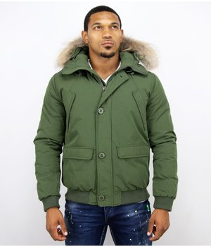 Warren Webber Fur Collar Coat - Men Winter Coat Short - Chilliwack Bomber - Green