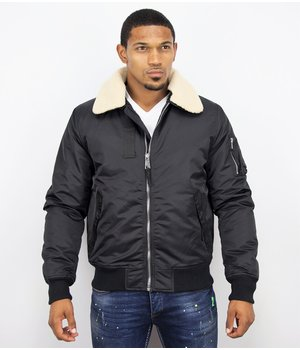 Y chromosome Casual Pilot Jacket - Bomber Jack - Black