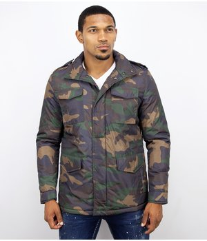 Enos Winter Coats - Men Winter Jacket Short - Camouflage Jack - Green