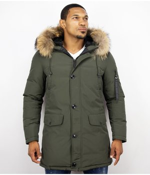 Enos Fur Collar Coat - Men Winter Coat Long- XL Fur Collar - Parka - Green