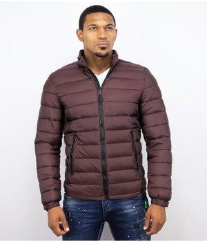 Enos Winter Coats - Men Winter Jacket Short Down Jack - Burgundy