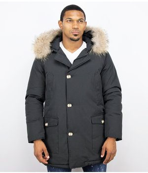 Enos Fur Collar Coat - Men Winter Coat Wooly Long - Large XL Fur Collar  - Parka 4 pocket - Black