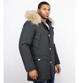 Enos Fur Collar Coat - Men Winter Coat Wooly Long - Large XL Fur Collar  - Parka 4 pocket - Black
