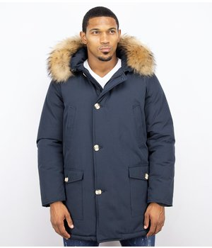 Enos Fur Collar Coat - Men Winter Coat Wooly Long - Large XL Fur Collar - Parka 4 pocket - Blue