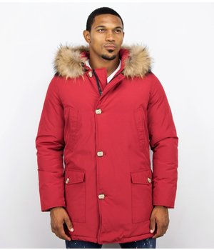 Enos Fur Collar Coat - Men Winter Coat Wooly Long - Large XL Fur Collar - Parka 4 pocket - Red