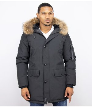 Enos Fur Collar Coat - Men Winter Coat Long - XL Fur Collar - Parka - Black