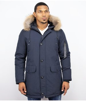 Enos Fur Collar Coat - Men Winter Coat Long - XL Fur Collar - Parka - Blue