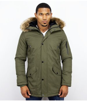 Enos Winter Coats - Men Winter Jacket Long - Faux Fur - - Army - Green