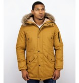 Enos Winter Coats - Men Winter Jacket Long - Faux Fur - - Army - Yellow
