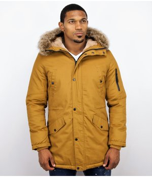 Enos Winter Coats - Men Winter Jacket Long - Faux Fur - - Army - Yellow