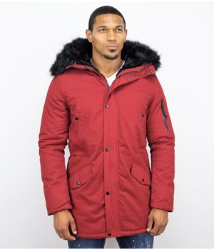 Enos Winter Coats - Men Winter Jacket Long - Faux Fur - Army - Burgundy