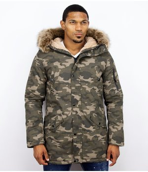 Enos Winter Coats - Men Winter Jacket Long - Faux Fur - Camouflage - Green