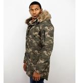 Enos Winter Coats - Men Winter Jacket Long - Faux Fur - Camouflage - Green