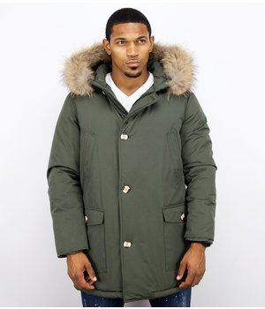 Enos Fur Collar Coat - Men Winter Coat Wooly Long - Large XL Fur Collar - Parka 4 pocket  - Green