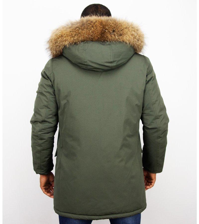 Enos Fur Collar Coat - Men Winter Coat Wooly Long - Large XL Fur Collar - Parka 4 pocket  - Green