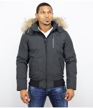 Enos Fur Collar Coat - Men Winter Coat Short - Large Fur Collar - Black