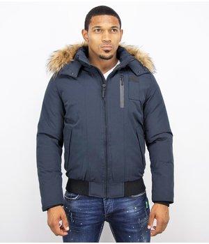 Enos Fur Collar Coat - Men Winter Coat Short - Large Fur Collar - Blue