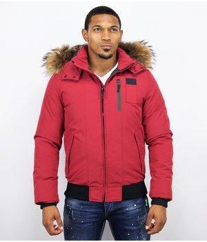 Enos Fur Collar Coat - Men Winter Coat Short - Large Fur Collar - Red