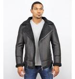 Frilivin Men Lammy Coat Jacket - Fake Fur Coat Winter - Black