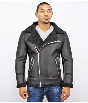Frilivin Men Lammy Coat Jacket - Fake Fur Coat Winter - Black