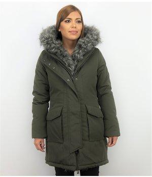 Macleria Ladies Imitation Fur Coat Parka - Long Winter Jacket - Green