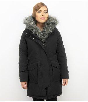 Macleria Imitation Fur Coat Ladies Parka - Long Winter Jacket - Black