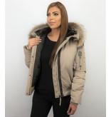 Macleria Fur Collar Coat - Women's Winter Coat Short - Beige